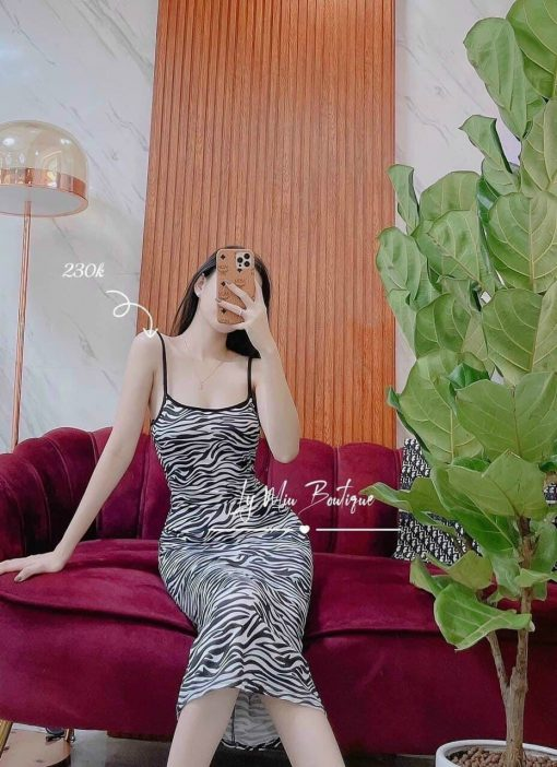 Đầm body vằn